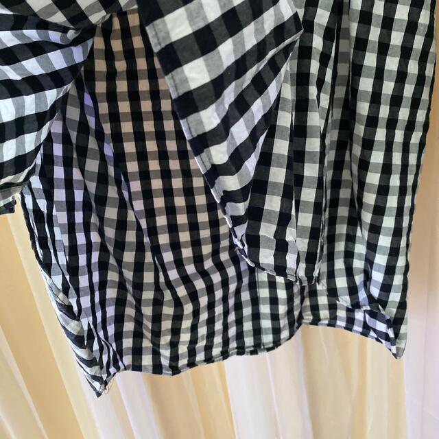 ZARA(ザラ)のZARA womanザラウーマンMサイズ黒白チェックオーバーサイズシャツワンピ レディースのワンピース(ミニワンピース)の商品写真