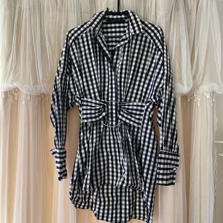 ZARA - ZARA womanザラウーマンMサイズ黒白チェックオーバーサイズシャツワンピ