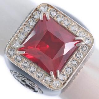 Gucci - グッチ 赤石 シルバー925 10 黒 レディース リング・指輪