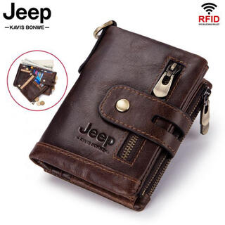 Jeep 本革二つ折り財布 GENUINE LEATHER 自然な革質感を味わう
