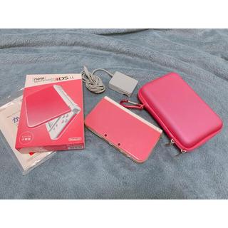 ニンテンドー3DS(ニンテンドー3DS)のnewニンテンドー3DS LL ピンク 収納ケース付き 桃鉄ダウンロードソフト(家庭用ゲーム機本体)