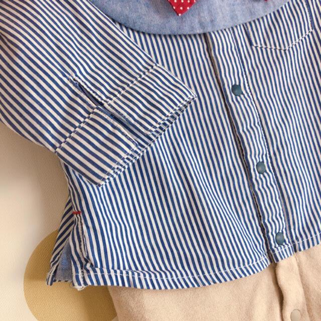 petit main(プティマイン)のお出かけ用ロンパース キッズ/ベビー/マタニティのベビー服(~85cm)(ロンパース)の商品写真
