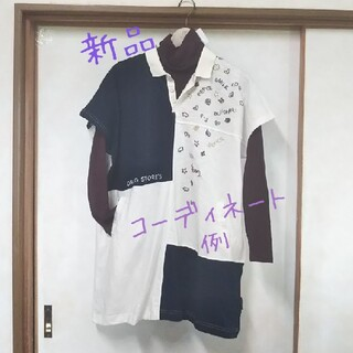 ドラッグストアーズ(drug store's)のdrug store's ポロシャツチュニック 白×ネイビー タグつき(カットソー(半袖/袖なし))