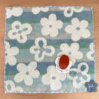シビラ(Sybilla)のSybilla シビラ   タオルハンカチ 花柄 ブルー ふんわり 綿100% (ハンカチ)