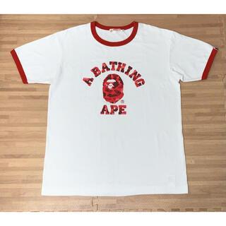 A BATHING APE - ★希少★ APE レッド カモ 大猿 ロゴ Tシャツ XL シャーク
