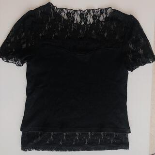 ナイスクラップ(NICE CLAUP)のNICE CLAUP レースTシャツ 黒(Tシャツ(半袖/袖なし))