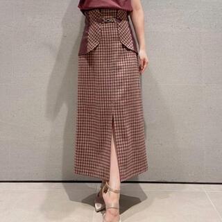 Lily Brown - ビット付き合皮切り替えタイトスカート