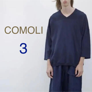 COMOLI - COMOLI コモリ コットンシルク メッシュニット 3 ネイビー