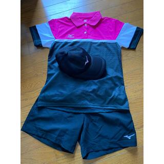 ミズノ(MIZUNO)のミズノ スポーツウェア テニス L ポロシャツ ズボン 帽子 セットアップ 新品(ウェア)