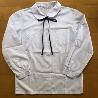 制服  高校 中学 学生 Yシャツ ワイシャツ ブラウス 丸襟  長袖 リボン(衣装一式)
