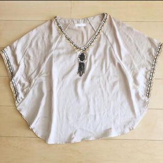 ジーナシス(JEANASIS)のJEANASIS 刺繍ビーズ サテン生地カットソー(カットソー(半袖/袖なし))