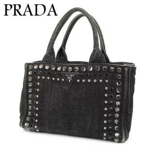 PRADA - プラダ PRADA ロゴ ビジュー スタッズ デニム ミニ ハンド バッグ