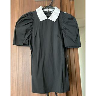 ソブ(Sov.)のSov. ソブ 襟つき パフスリーブ ブラウス シャツ 黒  ブラック(シャツ/ブラウス(半袖/袖なし))