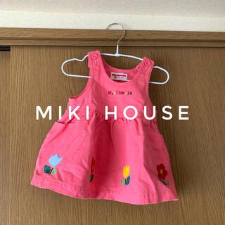 ミキハウス(mikihouse)のミキハウスジャンパースカートワンピース80ピンク花柄(ワンピース)