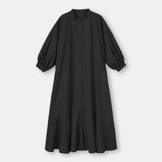 GU - GU ジーユー バンドカラーシャツワンピース 7分袖ブラック黒L