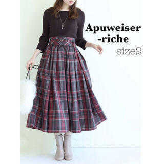 Apuweiser-riche - Apuweiser-riche サッシュベルト付きチェックタフタスカート