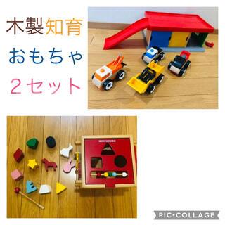 ミキハウス(mikihouse)の木製 知育おもちゃ セット 木琴 働くくるま 型はめ ガソリン駐車場付き(知育玩具)