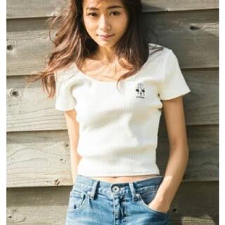 ジェイダ(GYDA)のgyda ミッキーコラボ テレコt ホワイト(Tシャツ(半袖/袖なし))