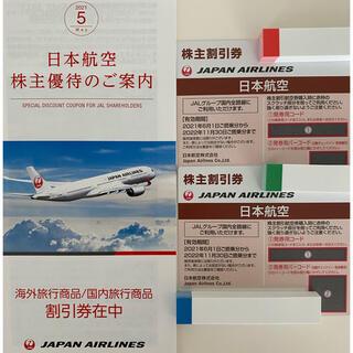 ジャル(ニホンコウクウ)(JAL(日本航空))の匿名配送☆冊子付 2枚【JAL 株主優待券 】日本航空 2022年11月末迄(航空券)