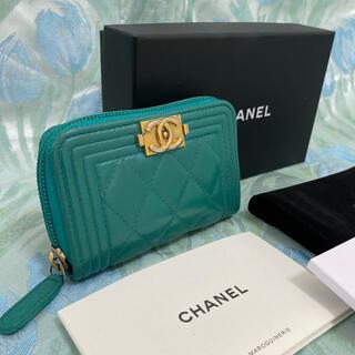 CHANEL - 正規品 美品 ボーイシャネル コインケース グリーン系