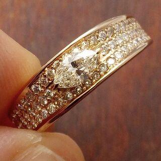 メインはマーキスダイヤです!K18ダイヤリング 13号(リング(指輪))