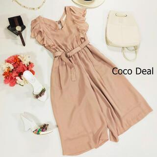 ココディール(COCO DEAL)のココディール オールインワン ピンク 袖フリル レースアップ サイズ1 S(オールインワン)