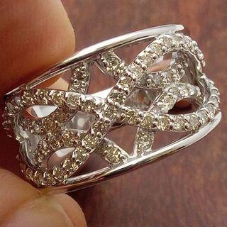 幅広!ゴージャス!1.00ctです!K18WGダイヤリング 11.5号(リング(指輪))