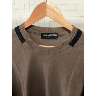 ドルチェアンドガッバーナ(DOLCE&GABBANA)の[イタリア製]ドルチェ&ガッバーナ  ベージュ×黒ライン綿セーター 48サイズ(ニット/セーター)