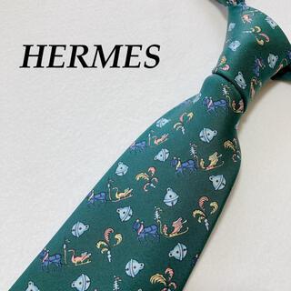 Hermes - HERMES エルメス ネクタイ 総柄 鈴 馬 馬車 グリーン ロゴ