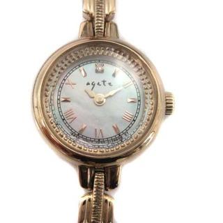 agete - アガット 腕時計 ソーラーウォッチ ラウンドフォルム クオーツ ゴールド色