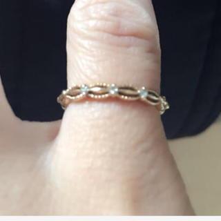 アガット(agete)の♡アガット ピンキーリング 3号 K10 ダイアモンド 中古 agete(リング(指輪))