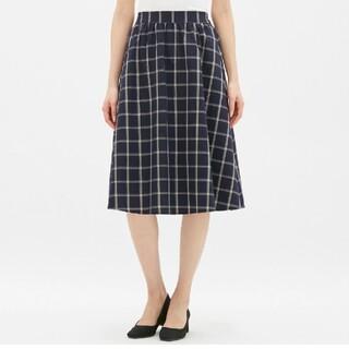 GU - チェックフレアミディスカート