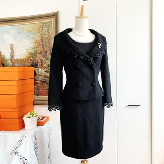 ESCADA - 美品 ESCADA エスカーダ 女優襟 ツイード スーツ 3点 セットアップ