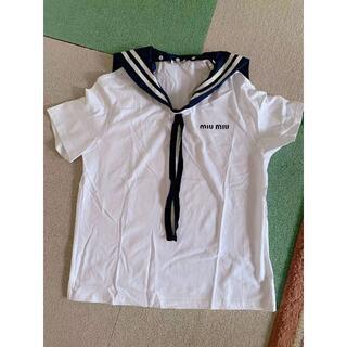 ミュウミュウ(miumiu)の【★大人気★】 MIUMIU ☆ プリントコットンジャージー Tシャツ(Tシャツ(半袖/袖なし))