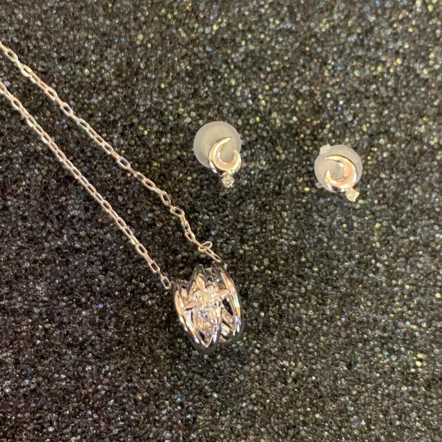 4℃(ヨンドシー)の4℃k10WGネックレスと、k10WGダイヤピアスセット レディースのアクセサリー(ネックレス)の商品写真