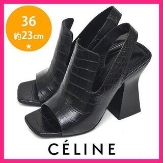 セリーヌ(celine)の美品♪セリーヌ クロコ スクエアトゥ サンダル 36(約23cm)(サンダル)