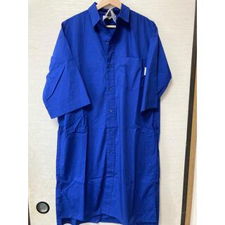 ロゴス(LOGOS)の新品 LOGOS DAYS ブルー シャツワンピース Mサイズ (ロングワンピース/マキシワンピース)