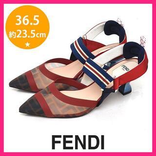 フェンディ(FENDI)のほぼ新品♪フェンディ コリブリ ズッカ柄 メッシュパンプス 36.5(約23.5(ハイヒール/パンプス)