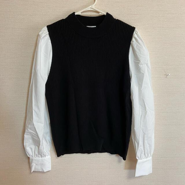 GU(ジーユー)のGU  ニット切り替えシャツ レディースのトップス(ニット/セーター)の商品写真