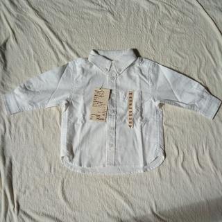 無印 ベビー ボタンダウンシャツ オフ白 80