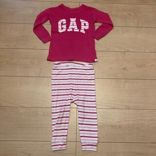 ベビーギャップ(babyGAP)のベビーギャップ パジャマ 80 女の子 ロゴ ボーダー ピンク(パジャマ)