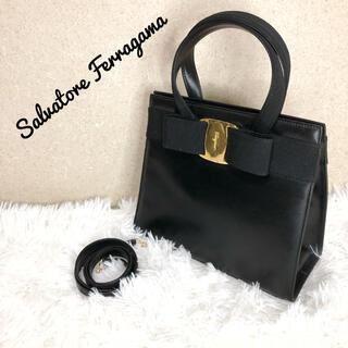 Salvatore Ferragamo - 美品 フェラガモ 2way ヴァラリボン ハンドバッグ ショルダーバッグ  金具