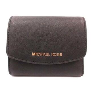 Michael Kors - マイケルコース 財布 三つ折り ロゴ ゴールド金具 PVC レザー 牛革 黒