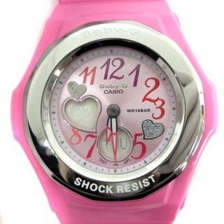 ベビージー(Baby-G)のベビージー ジェミーダイアル 腕時計 アナデジ ハトメ シルバー色 ピンク(腕時計)