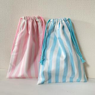 ストライプ巾着Lセット pink✖️blue(外出用品)