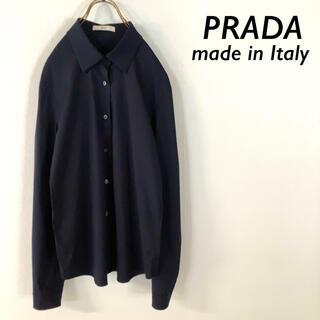 プラダ(PRADA)の【美品】イタリア製 PRADA プラダ デザインシャツ ネイビー(シャツ/ブラウス(長袖/七分))