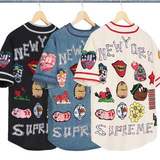 Supreme - Patches Denim Baseball Jersey ベースボールシャツ