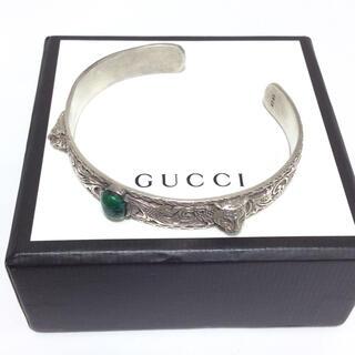 Gucci - 正規美品!グッチ バングル SV925 キャットヘッド カラーストーン
