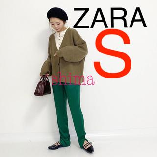 ZARA - ZARA サテンスリットパンツ グリーン ハイライズパンツ