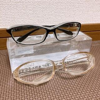 保護メガネ 花粉症用メガネ 透明・黒ぶち2点セット